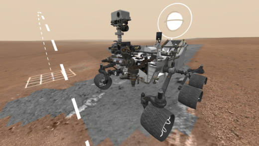 Screen shot of the Google/NASA webVR experience, Access Mars, from the landing site of NASA's Curiosity rover.