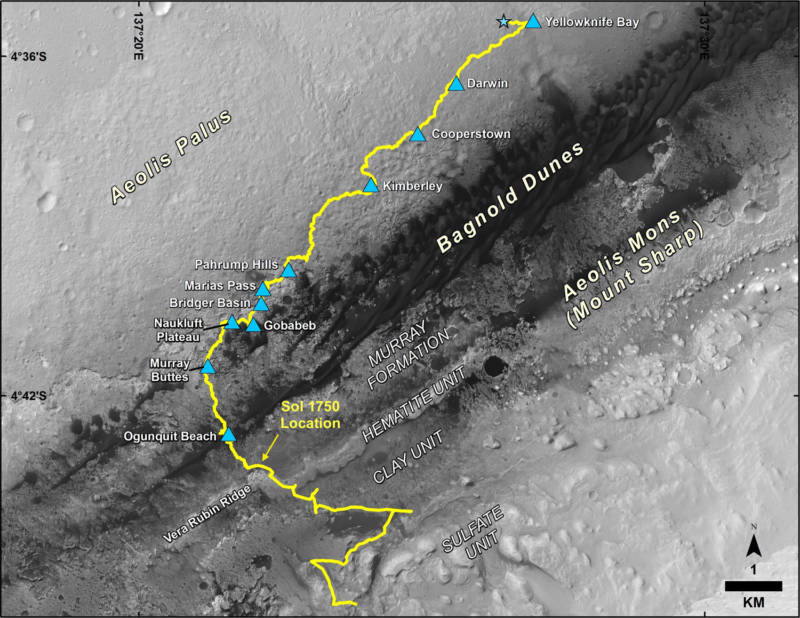 A map of the path the Curiosity rover has traversed since landing in 2012 to its present location, Vera Rubin Ridge. The track extends beyond this point, projecting the continuing uphill route NASA plans to send the rover.