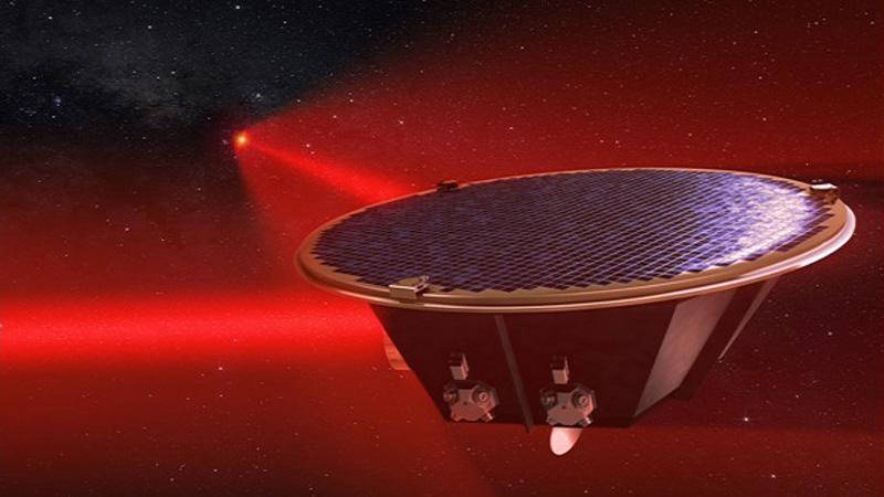 "Artist concept of one of the three LISA spacecraft elements, with its two laser ""arms"" shown extending to the other two spacecraft, millions of miles away."