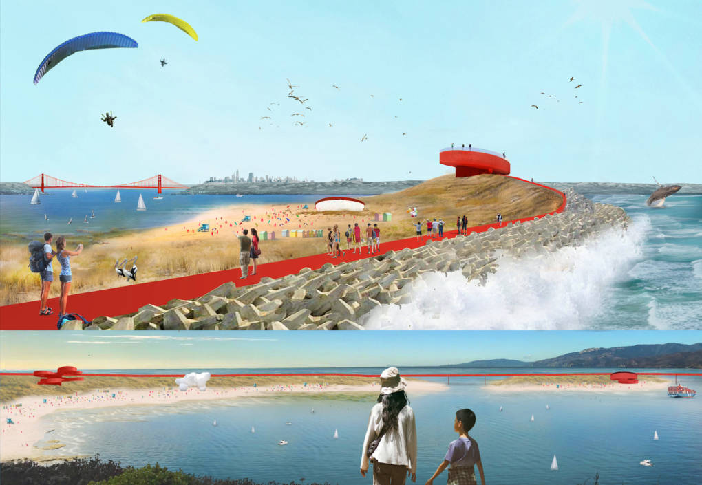 A team illustration shows two views of structures that could combine recreation with resilience to rising seas.