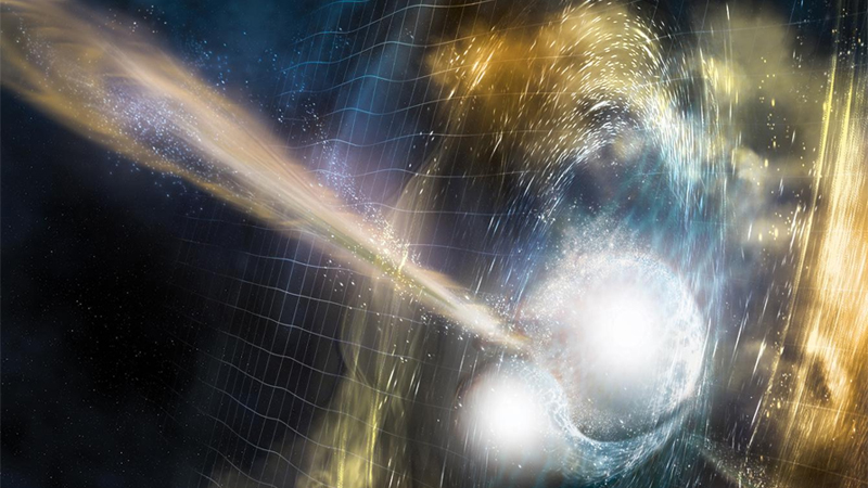 Artist concept of a neutron star merger detected in August 2017 by the LIGO gravity wave detector. The distorted grid lines represent gravitational wave disturbances caused by the high motion mass of the revolving neutron stars.
