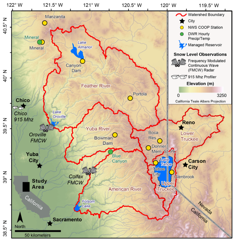 The snow line study focused on the northern Sierra Nevada over a ten-year period.