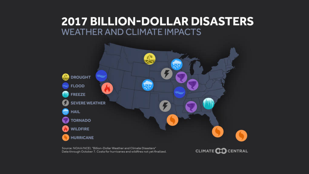 Map of US showing locations of major disasters in 2017.