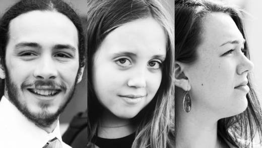 "Jacob Lebec, Avery McRae, and Kelsey Juliana, left to right, are among 21 ""youth plaintiffs"" suing the federal government for more aggressive action on climate change."