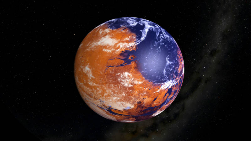 Artist concept of Mars at a time in the distant past when it possessed a thicker atmosphere, a water cycle, and liquid surface water.