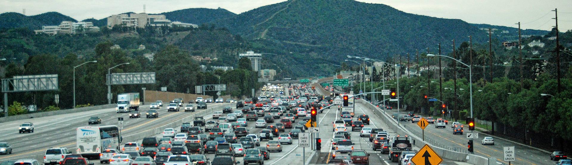 A heavy traffic jam.