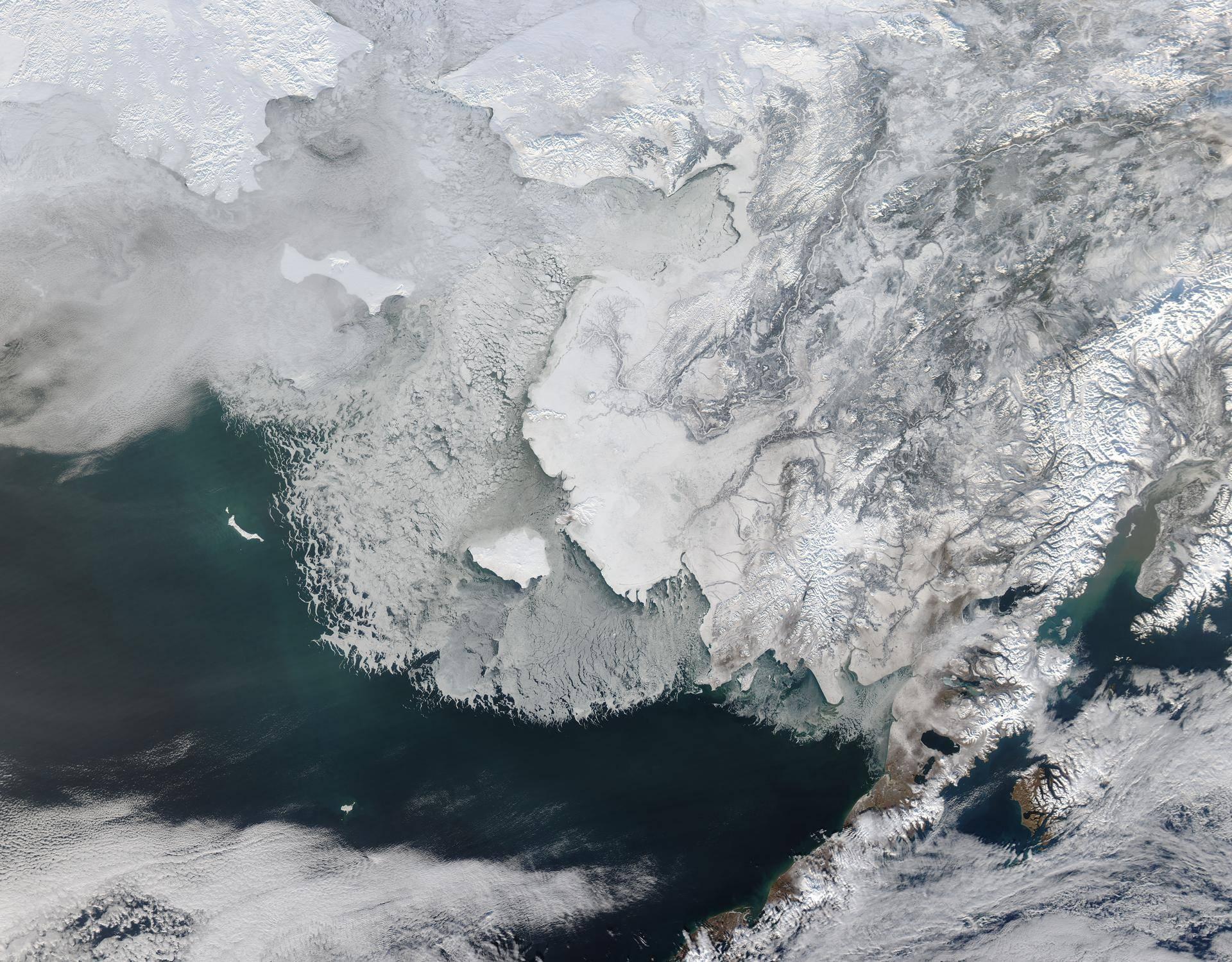 Satellite image of Sea ice off western Alaska.