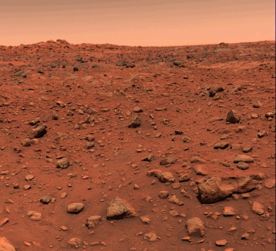 The first color image from the surface of Mars, July 21st, 1976.