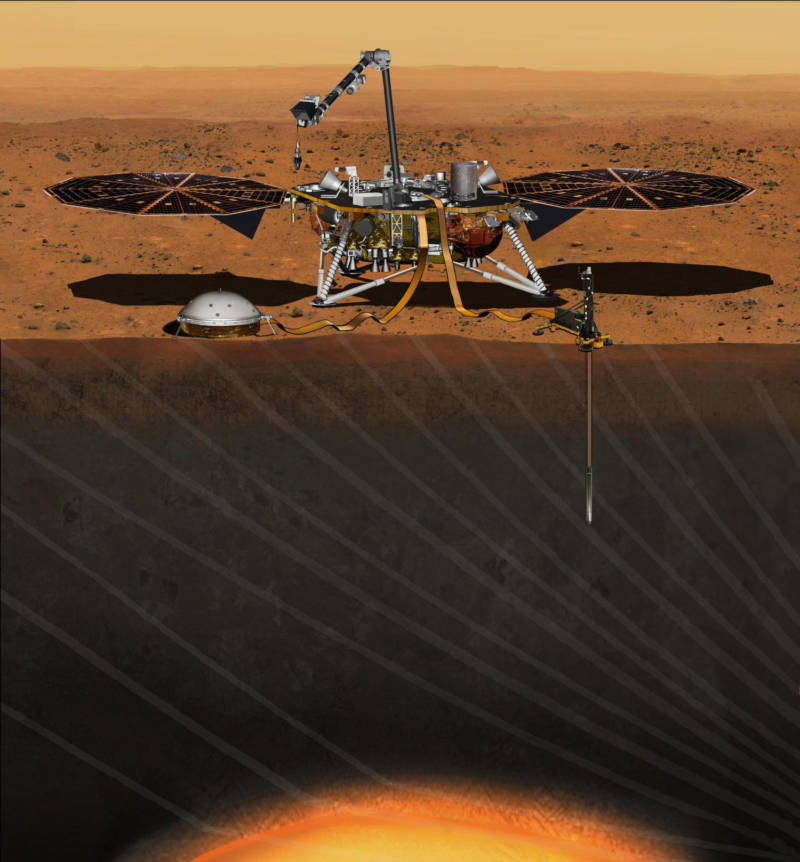 Cutaway illustration of InSight on Mars' surface. The HP3 thermal probe is shown on the right, and the SEIS seismometer on the left.