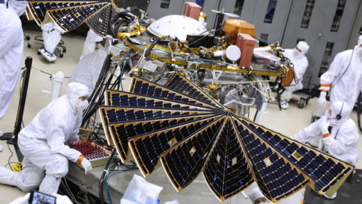 The InSight lander during its crucial solar panel deployment test in a clean room at Lockheed Martin Space in Colorado.