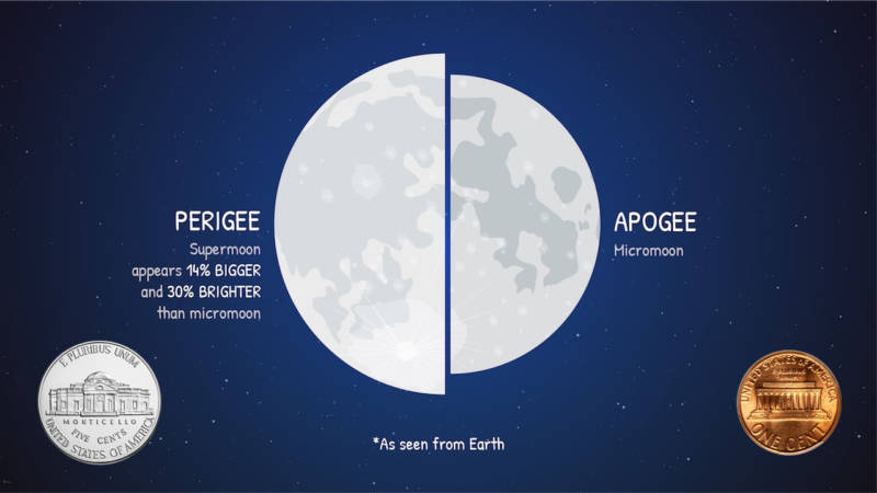 Comparison of the apparent size of the Moon at perigee (closest approach to Earth) and apogee (farthest distance): about the same difference as between a nickel and a penny.