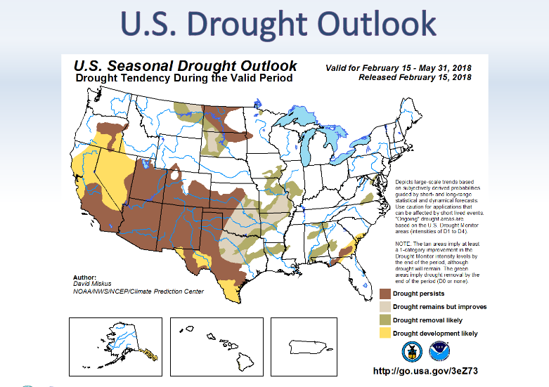 NOAA 3-mo. Drought Outlook map
