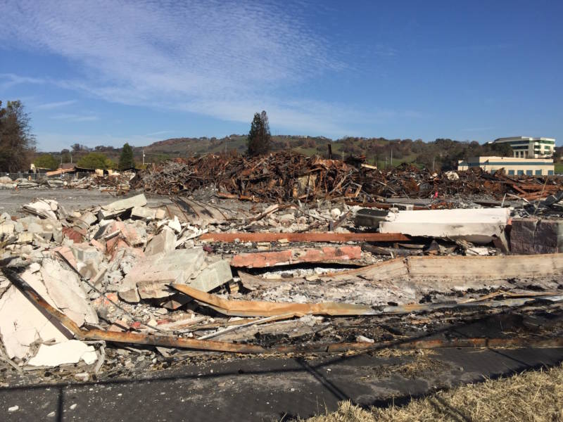 Piles of fire debris in Santa Rosa