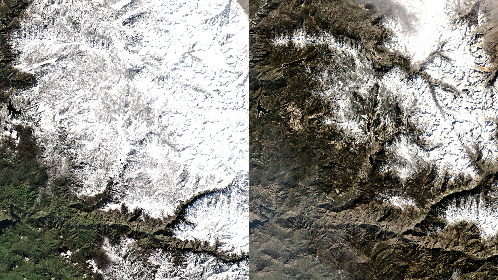 A satellite view of Mono Hot Springs February 12, 2017 (left) and February 11, 2018 (right).  Teodros Hailye/Image by Planet Labs