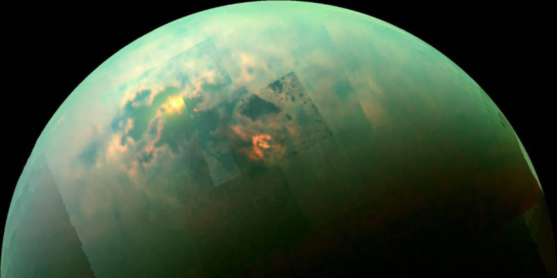 Sunlight reflecting off of Titan's liquid methane seas, as seen through Cassini.