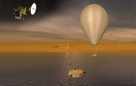 "Artist concept of possible future missions to Titan, including an orbiter, a ""floating"" probe designed to drift around Titan's methane seas, and a balloon-borne robotic explorer."