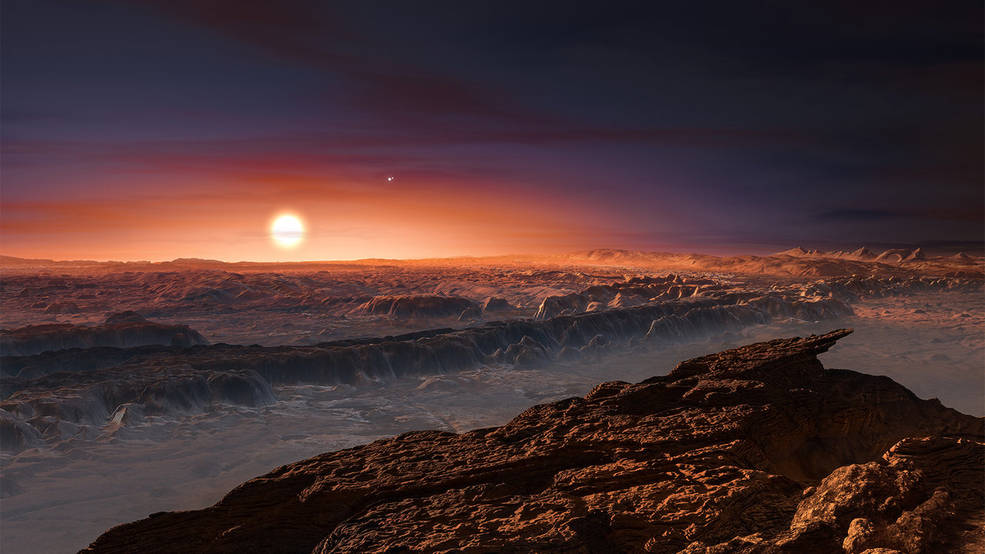 This artist's impression shows a view of the surface of the planet Proxima b orbiting the red dwarf star Proxima Centauri, the closest star to the Solar System. The double star Alpha Centauri AB also appears in the image to the upper-right of Proxima itself. Proxima b is a little more massive than the Earth and orbits in the habitable zone around Proxima Centauri, where the temperature is suitable for liquid water to exist on its surface. M. Kornmesser/ESO