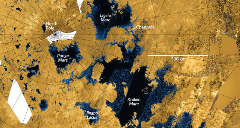 Cassini map of Titan's three large seas, and surrounding smaller lakes.
