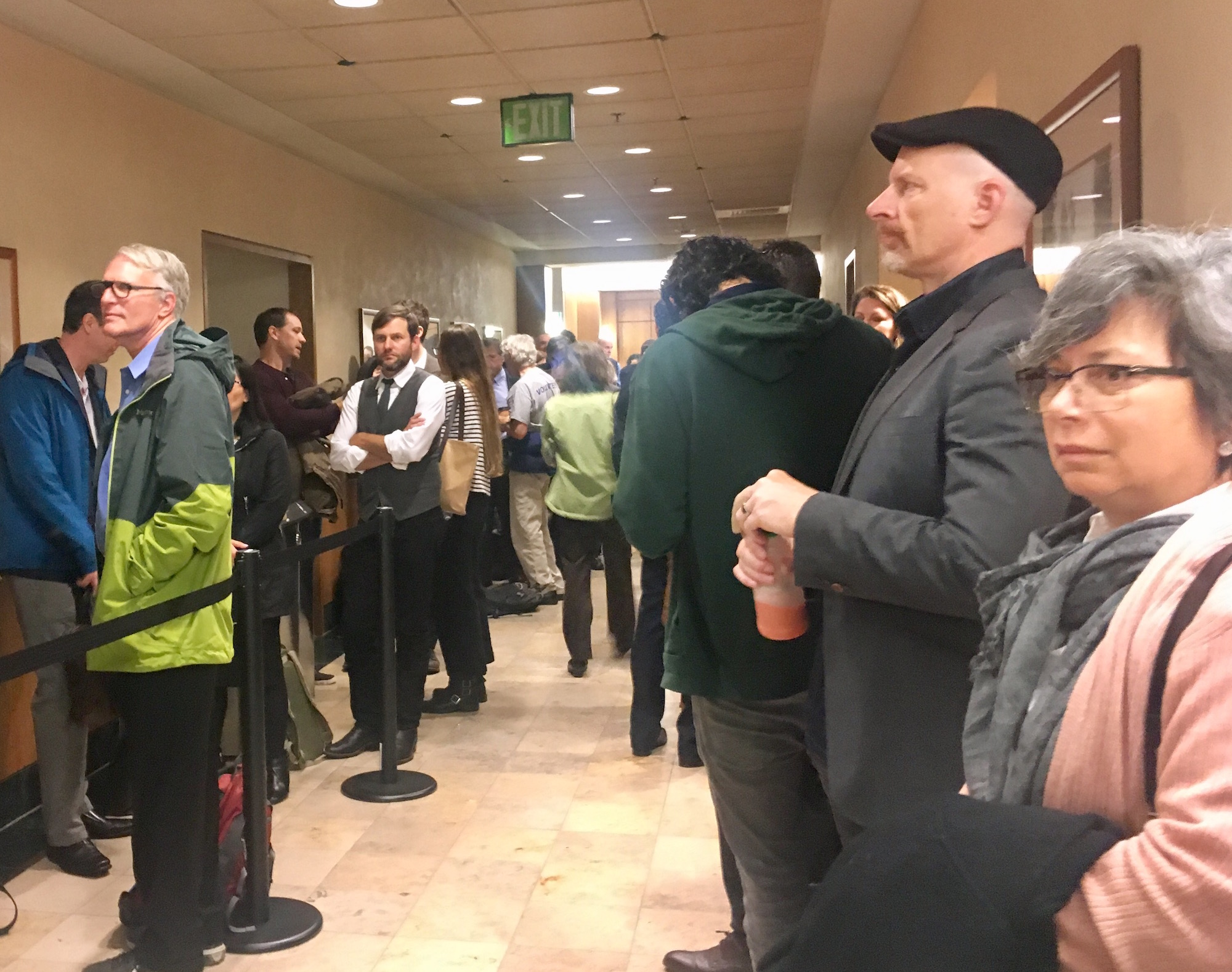 People lined up outside courtroom