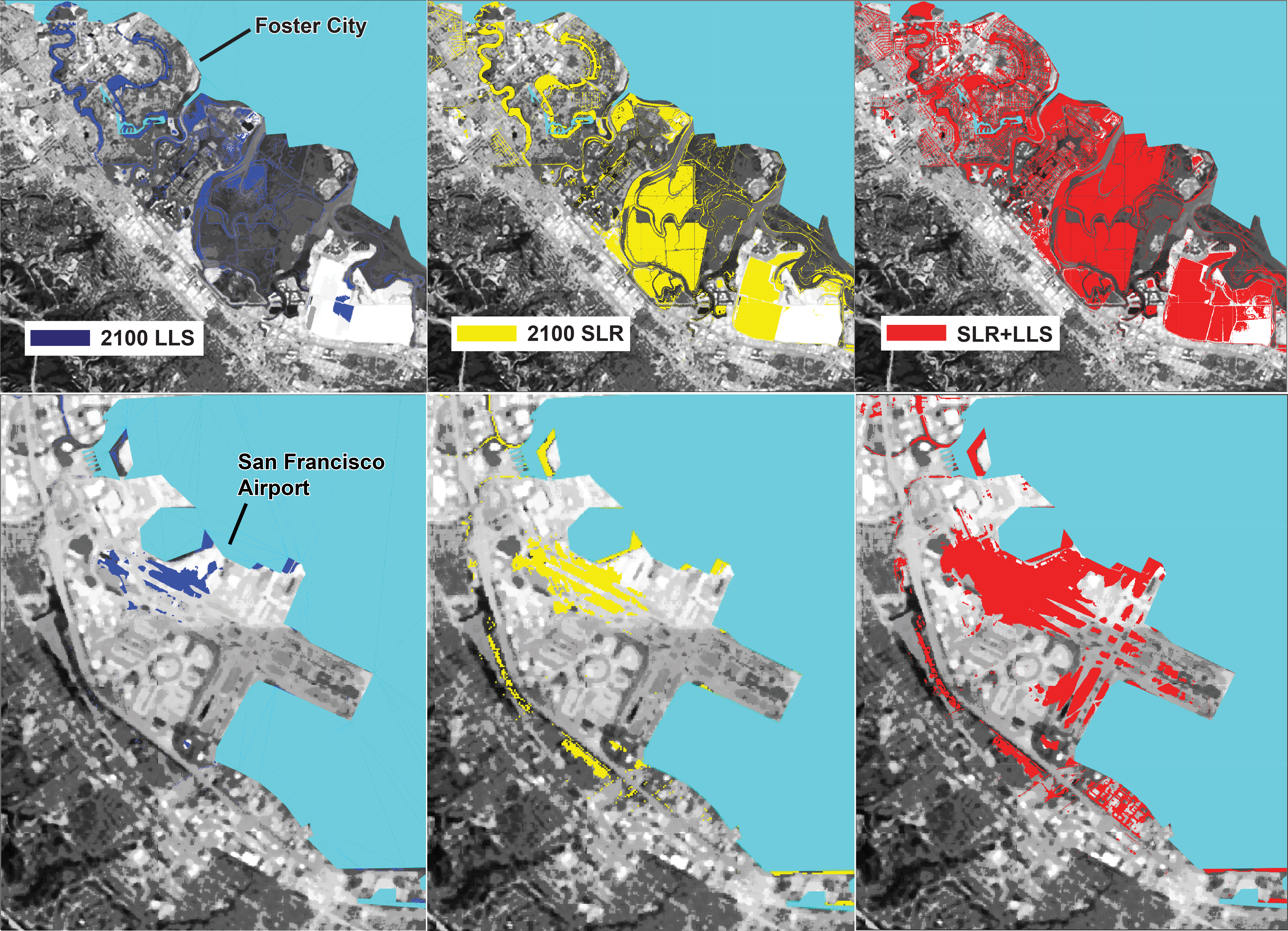 Berkeley and ASU researchers calculate land loss from subsidence (blue), sea level rise (yellow), and the two phenomena together (red).