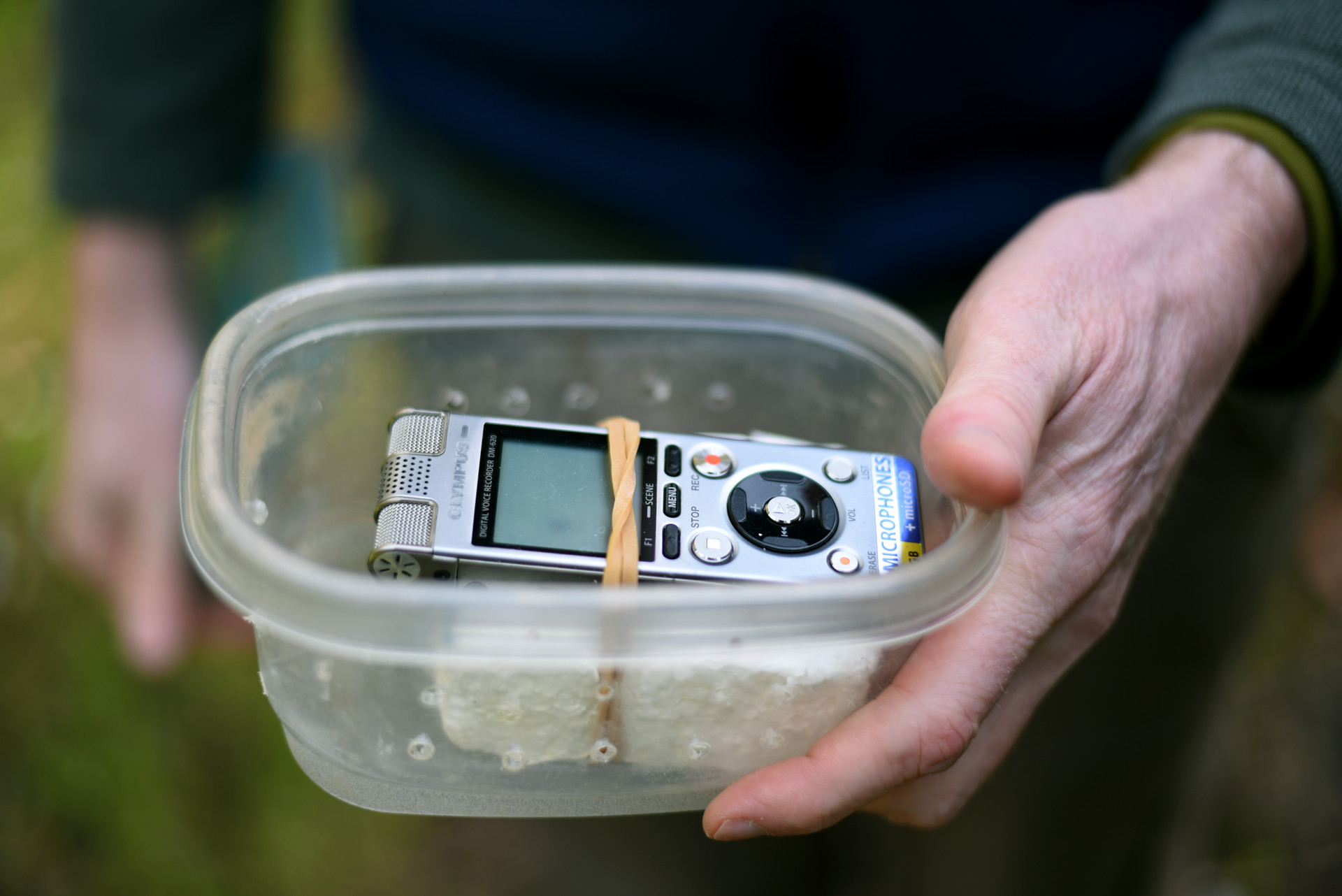 Olympus digital audio recorder in container