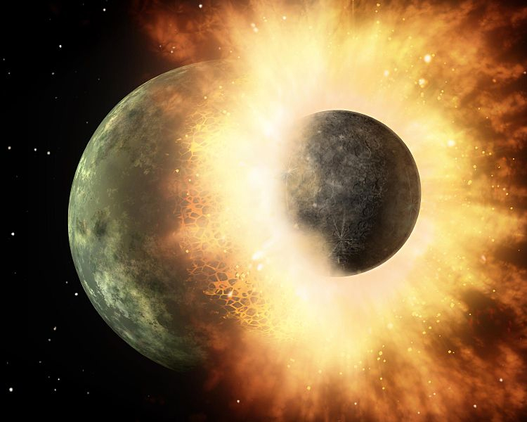 Artist concept of a collision between two planets--in this case a hypothetical Moon-sized world impacting a Mercury-sized planet. Such a collision is believed to have occurred between the young Earth and another planet named Theia, resulting in the formation of the Moon.