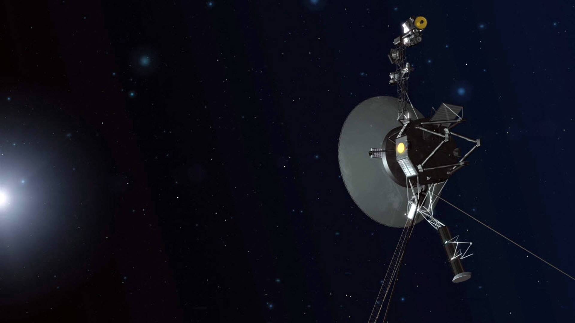 Artist illustration of Voyager 1 in deep space, far from the sun and planets of the solar system.  NASA