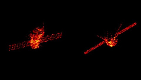 Radar images of Tiangong-1 captured in the week before its reentry. The images are from Germany's Tracking and Imaging Radar system.