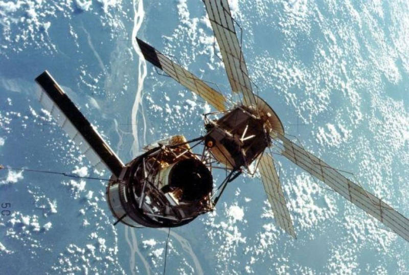 Skylab, the first major space station. Launched in 1973.