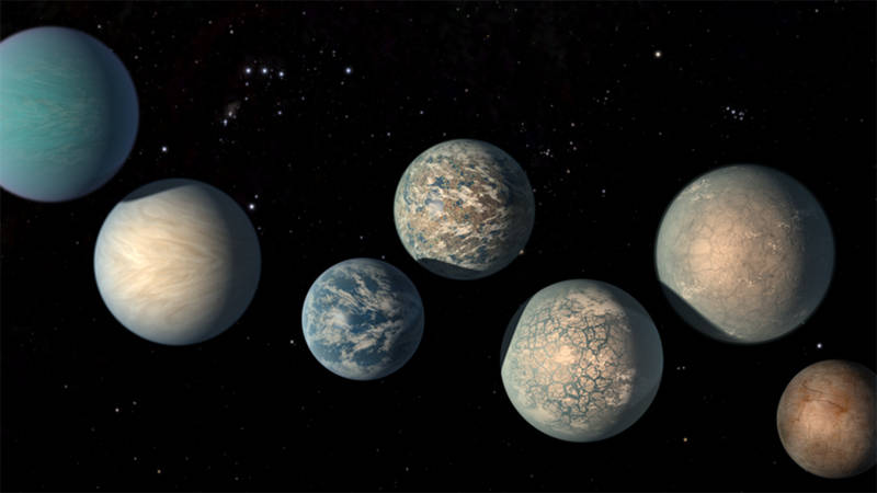 Artist illustration of the seven Earth-sized exoplanets discovered in the nearby TRAPPIST-1 system. Three of these are located within their star's habitable zone, and could have liquid water on their surfaces.