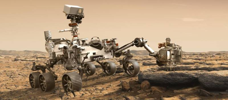 Artist concept of NASA's Mars 2020 rover, which will launch in July 2020 on a mission to search for signs of ancient Martian life in rock samples.