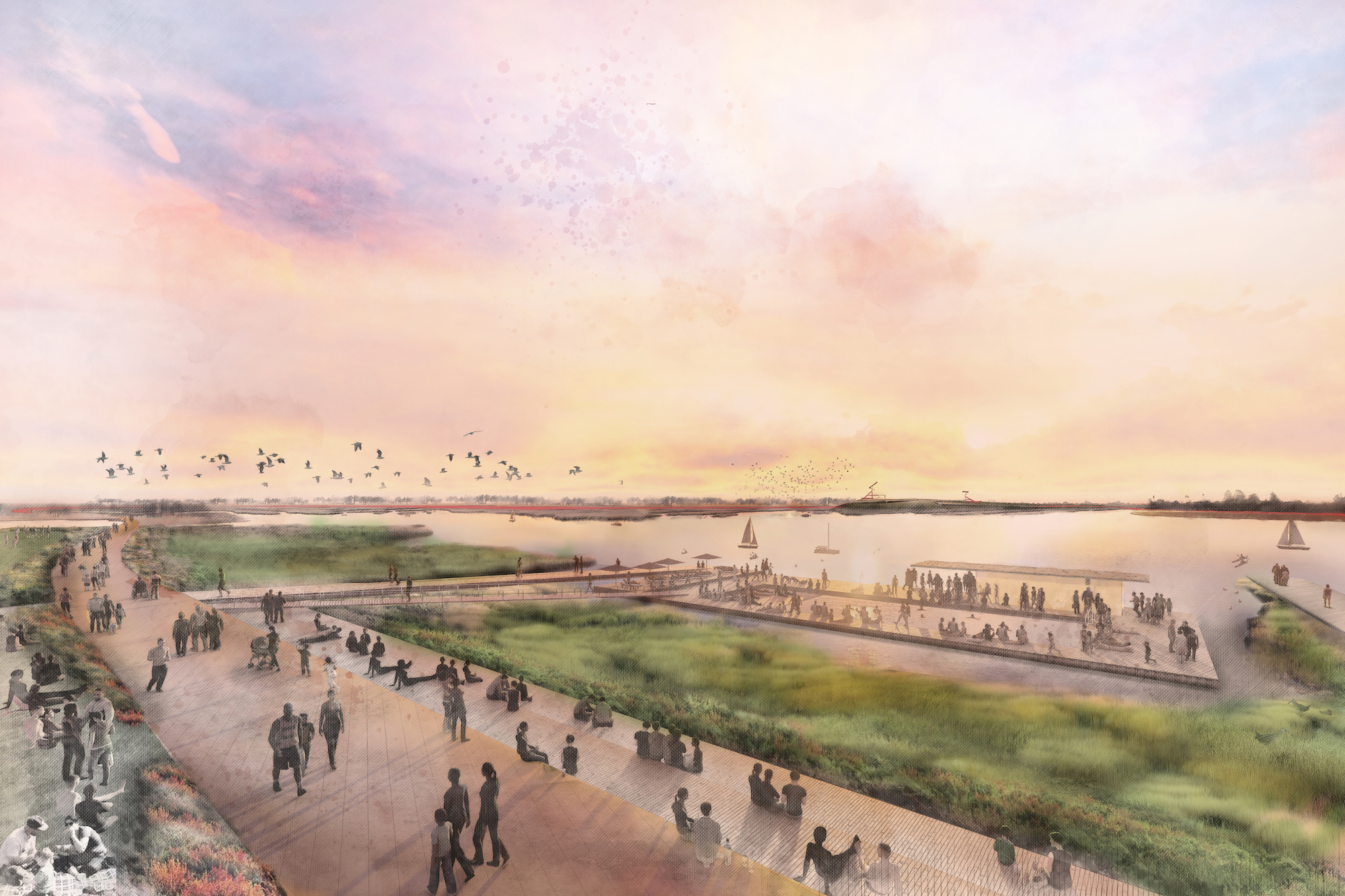 Artist's rendering of redesigned East Bay shoreline