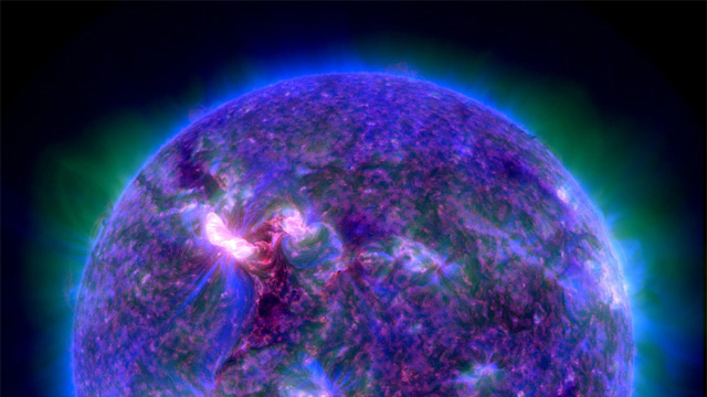 Composite extreme-ultraviolet image of the sun's corona, the super-heated atmospheric layer enveloping the sun.