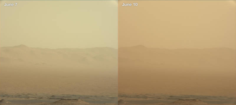 Images captured by the rover Curiosity in Gale Crater, showing the increase in airborne dust from June 7 to June 10, attributed to the major wind storm blowing across over a quarter of the planet.