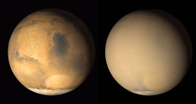 Two pictures of Mars taken a month apart in 2001, before (left) and during a major global dust storm. Pictures were taken by the Mars Global Surveyor spacecraft.