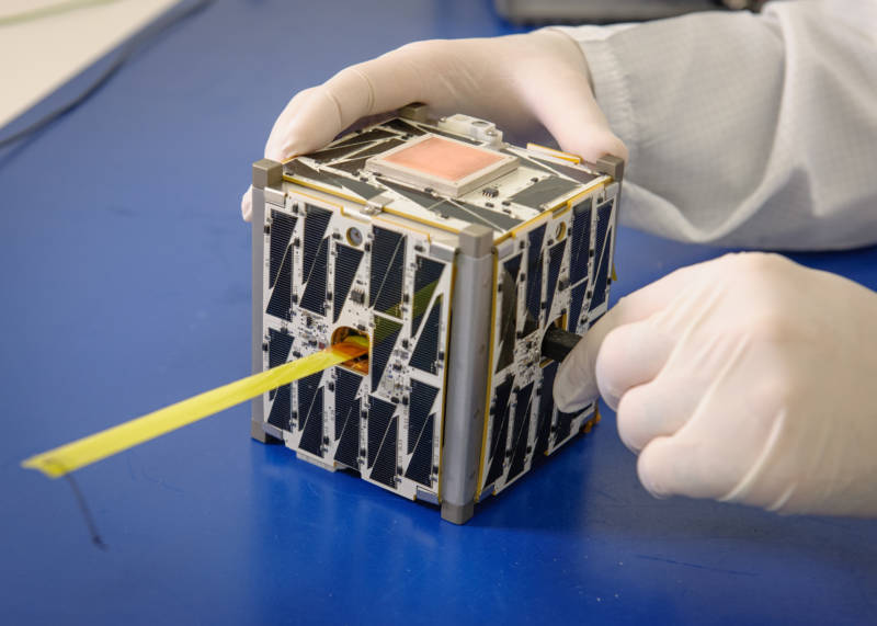 PhoneSat 2.5, a CubeSat made with commercially available smartphones, built at NASA's Ames Research Center.