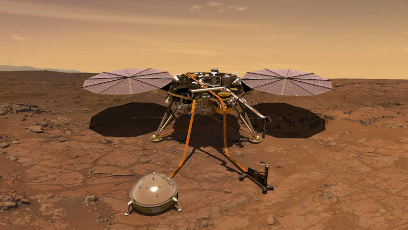 Artist rendition of NASA's InSIGHT spacecraft, which will land on Mars next November. Positioned in the foreground are InSIGHT's seismometer (left) and ground-penetrating thermal probe (right) instruments.