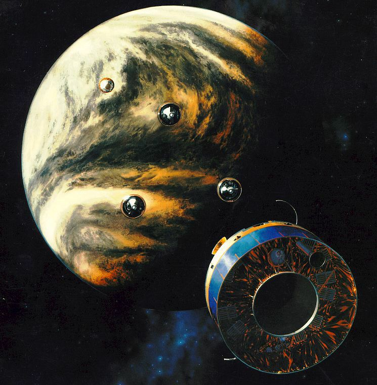 NASA's Pioneer Venus spacecraft carried four smaller probes that it launched into Venus' thick, corrosive atmosphere. Artist illustration.