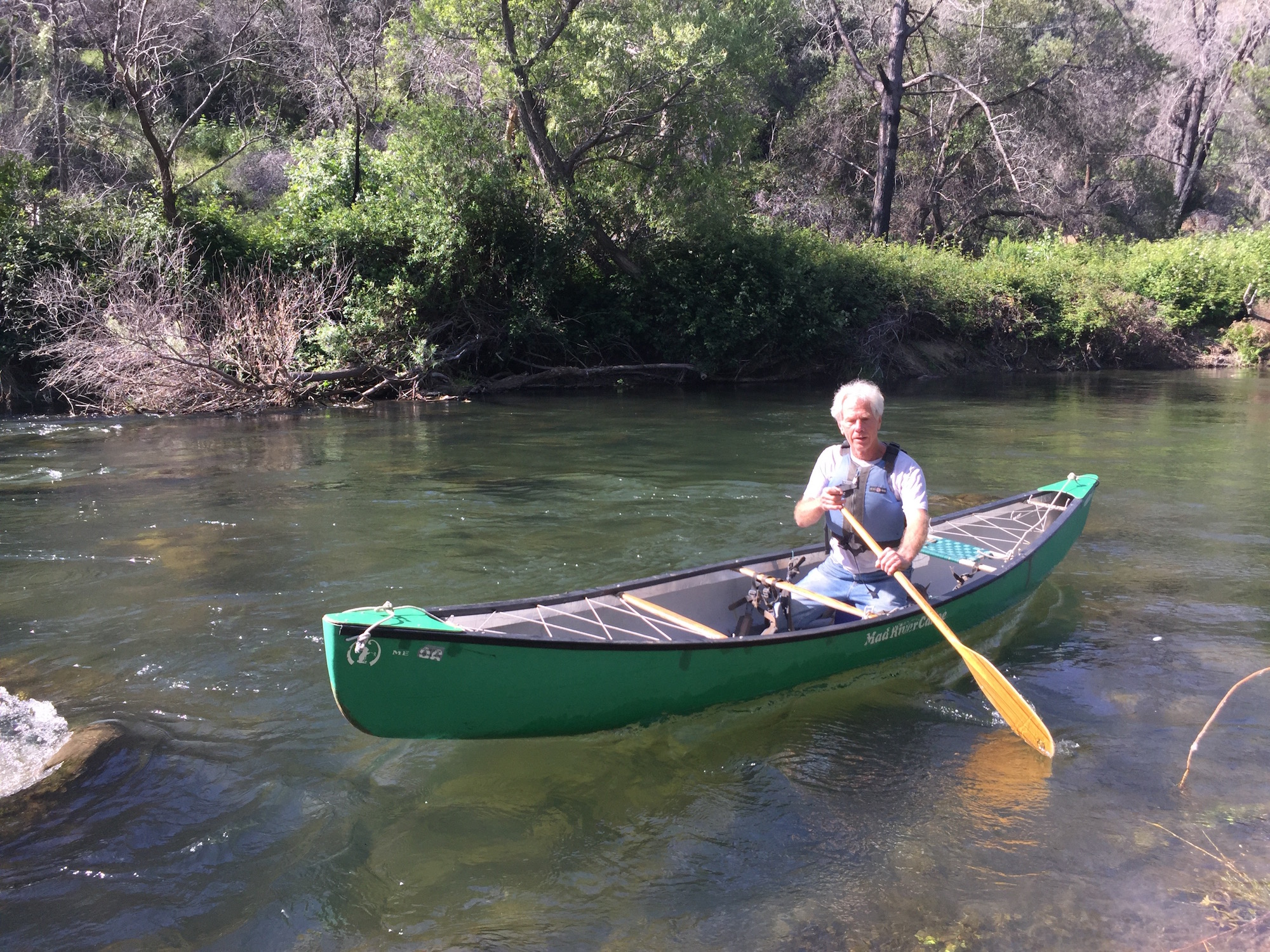 Photo: Tim Palmer paddling on Putah Creek, May 2018