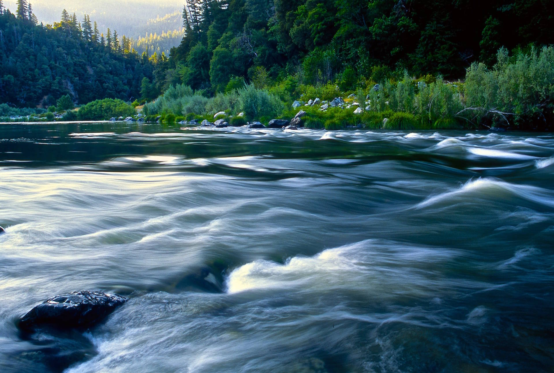 The Klamath River at Eysee Bar, 2003 -- one of the California rivers with federally designated Wild and Scenic portions. Tim Palmer