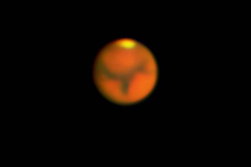 Mars as seen through Chabot's 20-inch refracting telescope, Rachel, during the close encounter of 2003.