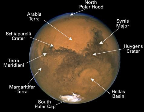 Some of Mars' surface features that you might see with the aid of a telescope.
