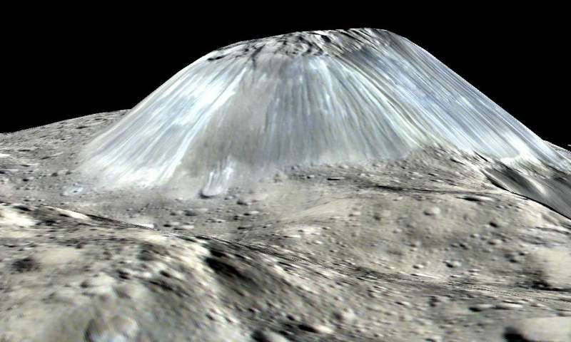 Ahuna Mons, a suspected cryovolcano on the dwarf planet Ceres. Digital model created from images and measurements made by the Dawn spacecraft.