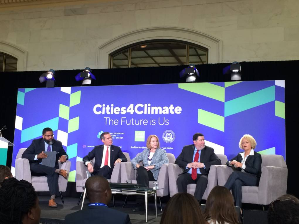 A panel at the Cities4Climate event. From left: moderator Jamil Smith; Los Angeles Mayor Eric Garcetti; Seattle Mayor Jenny Durkan; Pittsburgh Mayor Bill Peduto; Salt Lake City Mayor Jackie Biskupski.