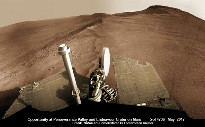 Image captured by Opportunity as it perched on the rim of Endeavour Crater on its way into the upper end of Perseverance Valley in 2017.