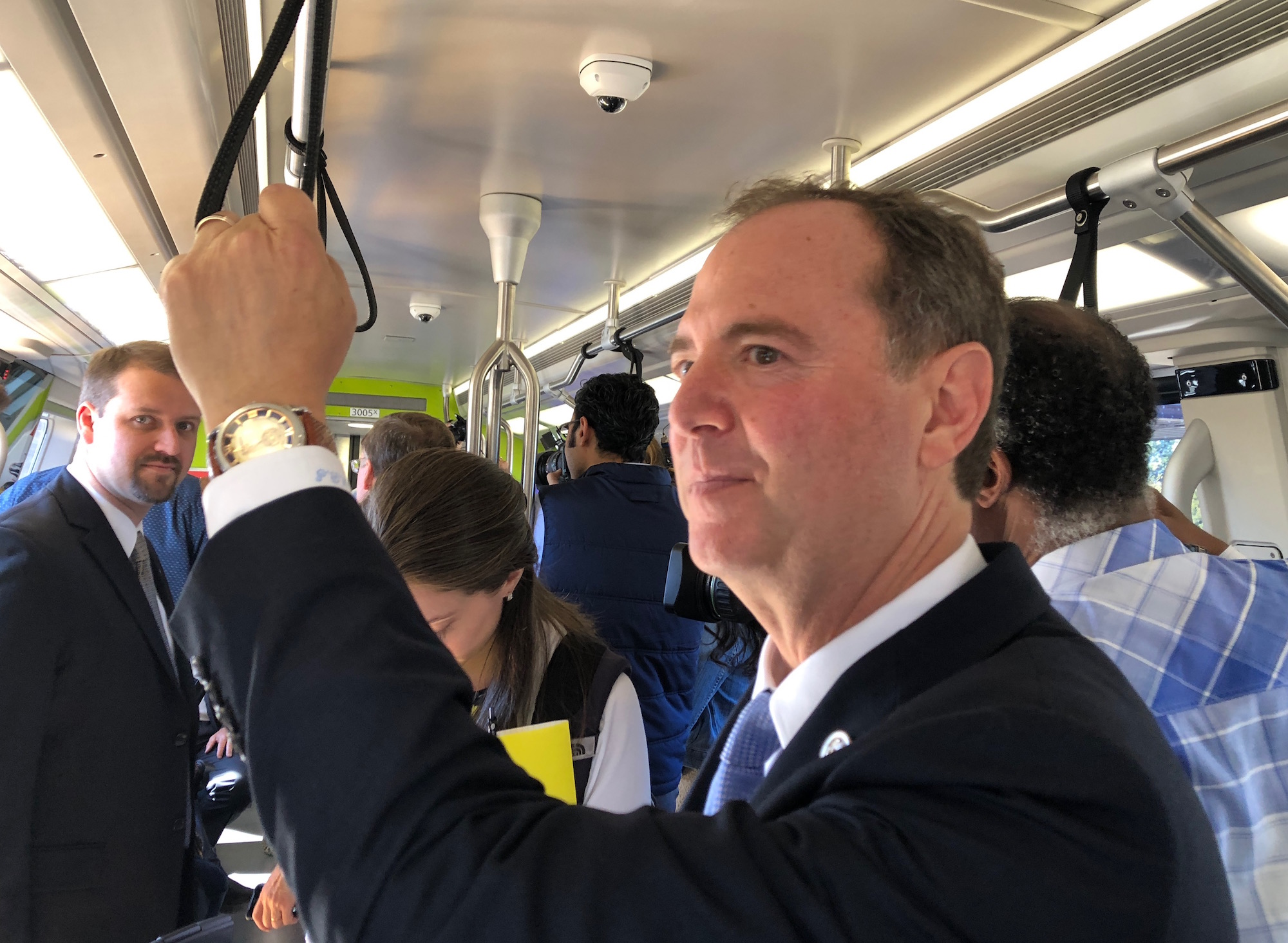 Photo: Rep. Adam Schiff on board BART in Oakland
