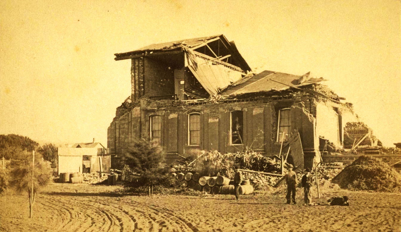 Photo: San Leandro courthouse ruins, 1868