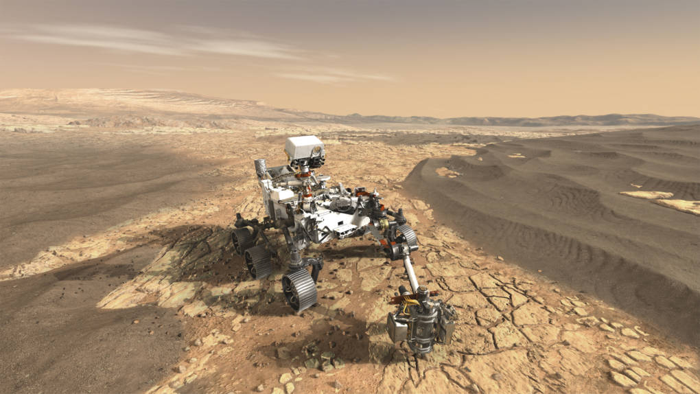 Artist concept of the Mars 2020 rover, scheduled to set down on Mars in two years on a mission to search for signs of life.