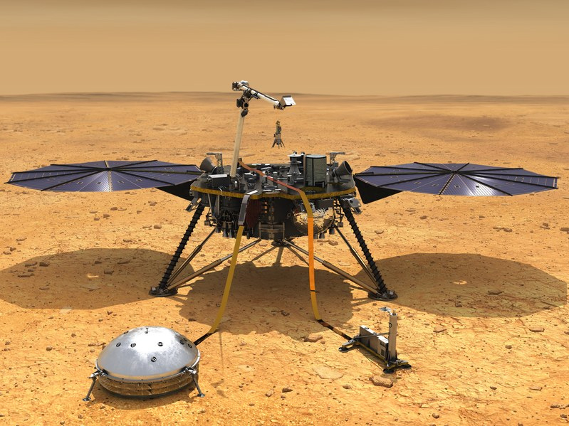 Artist illustration of the InSIGHT lander on Mars, with solar panels, seismometer, and thermal probe deployed.