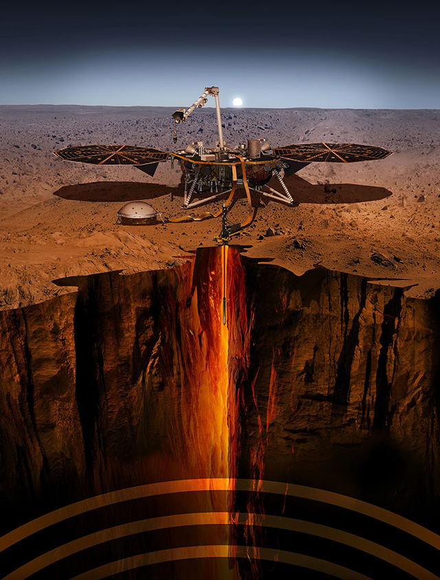Illustration showing InSIGHT and a cutaway profile of the ground under the Elysium Planitia landing site. The seismometer (SEIS) is shown deployed on the ground (dome-shape to left), and the HP3 ground-boring temperature probe runs directly below.